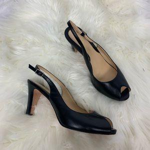 Cole Haan black peep toe heels size 8.5
